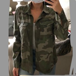MUDD Camouflage Studded Denim Button Down Top